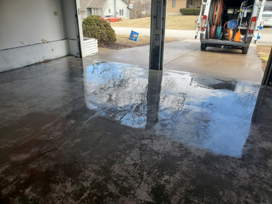 Power Washing paint from garage floor after